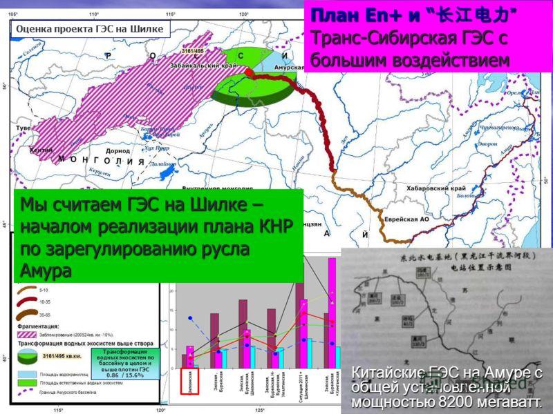 План En+ и План En+ и Транс-Сибирская ГЭС с большим воздействием Трансформация водных экосистем по бассейну в целом и выше плотин ГЭС 0.86 / 15.6% Оценка проекта ГЭС на Шилке Мы считаем ГЭС на Шилке – началом реализации плана КНР по зарегулированию р