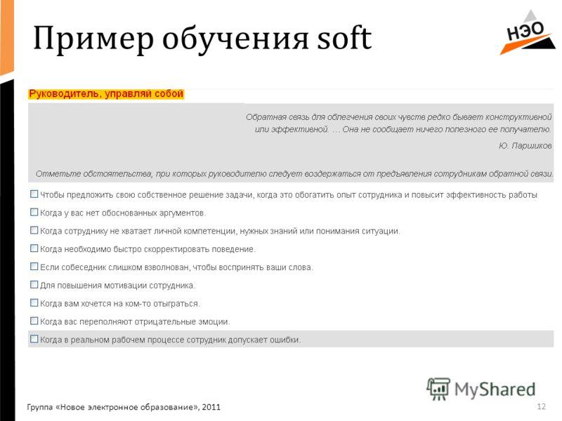 Пример обучения soft 12 Группа «Новое электронное образование», 2011