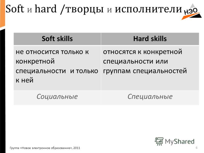 Soft и hard /творцы и исполнители 6 Группа «Новое электронное образование», 2011 Soft skillsHard skills не относится только к конкретной специальности и только к ней относятся к конкретной специальности или группам специальностей СоциальныеСпециальны