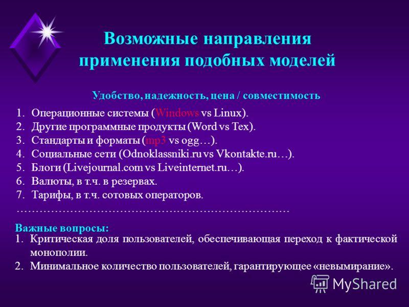 Возможные направления применения подобных моделей 1.Операционные системы (Windows vs Linux). 2.Другие программные продукты (Word vs Tex). 3.Стандарты и форматы (mp3 vs ogg…). 4.Социальные сети (Odnoklassniki.ru vs Vkontakte.ru…). 5.Блоги (Livejournal