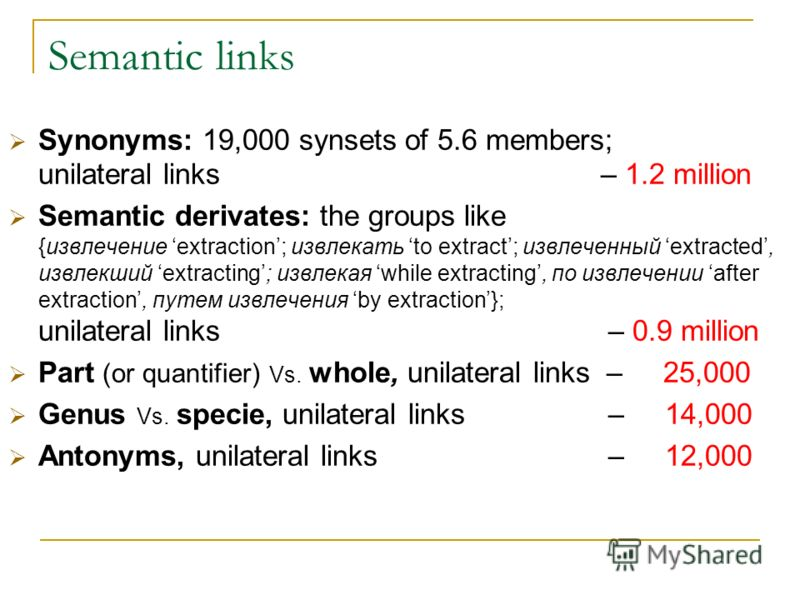 Semantic links Synonyms: 19,000 synsets of 5.6 members; unilateral links – 1.2 million Semantic derivates: the groups like {извлечение extraction; извлекать to extract; извлеченный extracted, извлекший extracting; извлекая while extracting, по извлеч