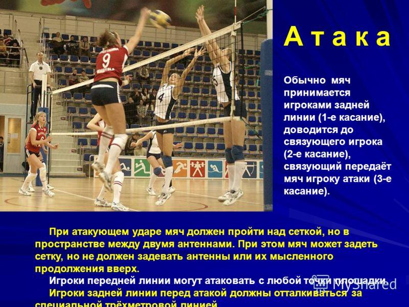 При атакующем ударе мяч должен пройти над сеткой, но в пространстве между двумя антеннами. При этом мяч может задеть сетку, но не должен задевать антенны или их мысленного продолжения вверх. Игроки передней линии могут атаковать с любой точки площадк