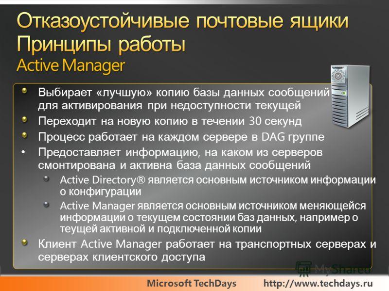 Microsoft TechDayshttp://www.techdays.ru Выбирает «лучшую» копию базы данных сообщений для активирования при недоступности текущей Переходит на новую копию в течении 30 секунд Процесс работает на каждом сервере в DAG группе Предоставляет информацию,