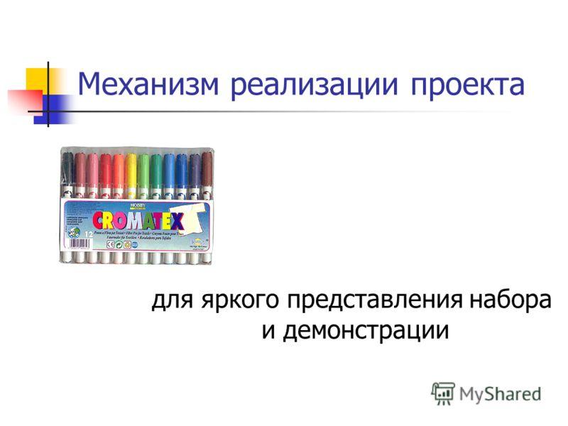 Механизм реализации проекта для яркого представления набора и демонстрации
