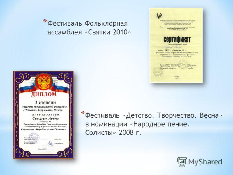 * Фестиваль «Детство. Творчество. Весна» в номинации «Народное пение. Солисты» 2008 г. * Фестиваль Фольклорная ассамблея «Святки 2010»