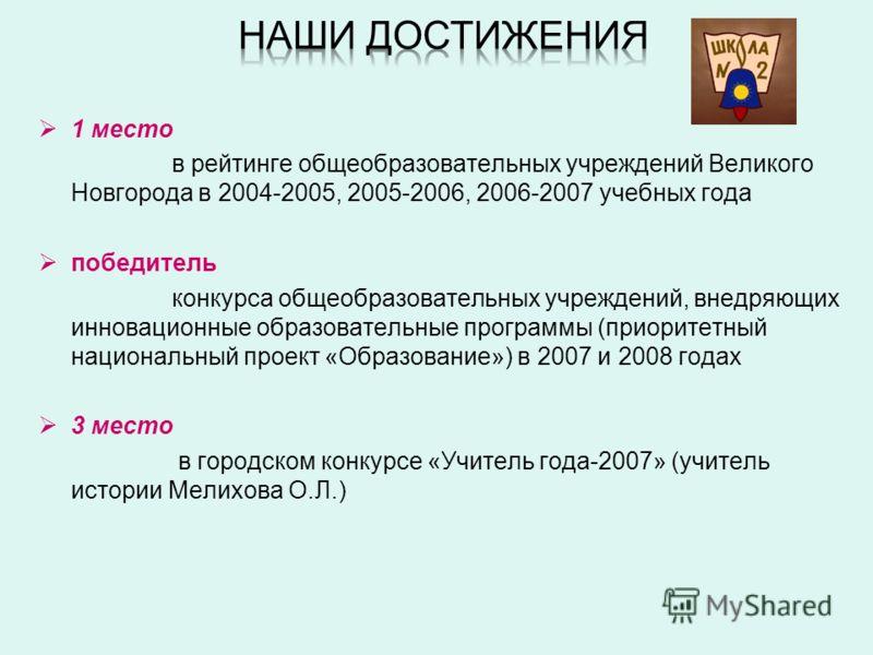 1 место в рейтинге общеобразовательных учреждений Великого Новгорода в 2004-2005, 2005-2006, 2006-2007 учебных года победитель конкурса общеобразовательных учреждений, внедряющих инновационные образовательные программы (приоритетный национальный прое