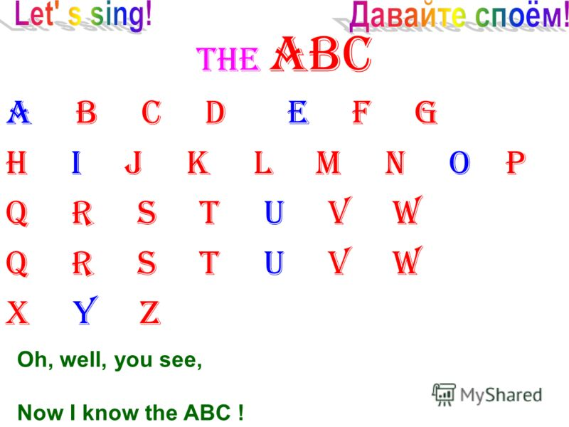 THE ABC A B C D E F G H I J K L M N O P Q R S T U V W X Y Z Oh, well, you see, Now I know the ABC !