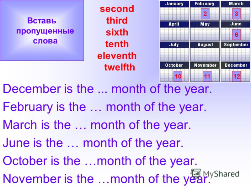 second third sixth tenth eleventh twelfth December is the... month of the year. February is the … month of the year. March is the … month of the year. June is the … month of the year. October is the …month of the year. November is the …month of the y