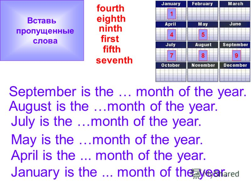 seventh ninth fifth eighth fourth first 1 54 897 January is the... month of the year. April is the... month of the year. May is the …month of the year. July is the …month of the year. August is the …month of the year. September is the … month of the
