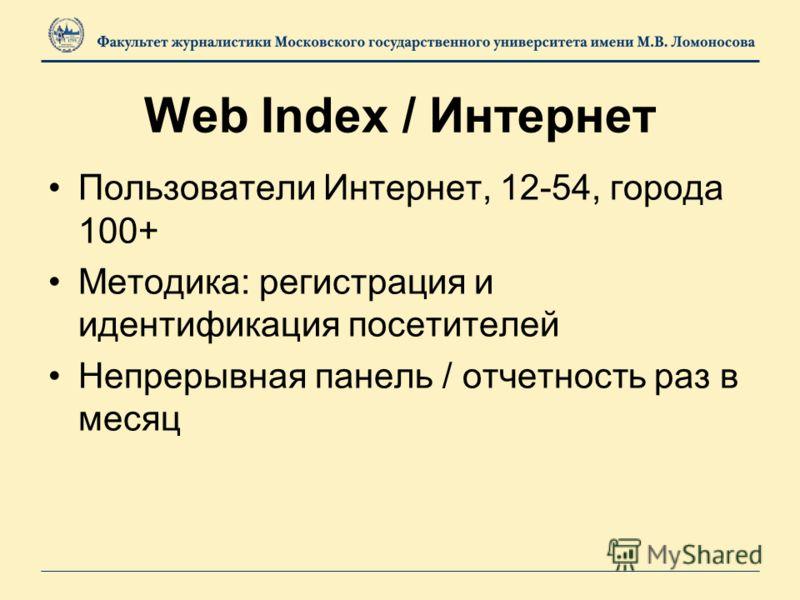 Пользователи Интернет, 12-54, города 100+ Методика: регистрация и идентификация посетителей Непрерывная панель / отчетность раз в месяц Web Index / Интернет