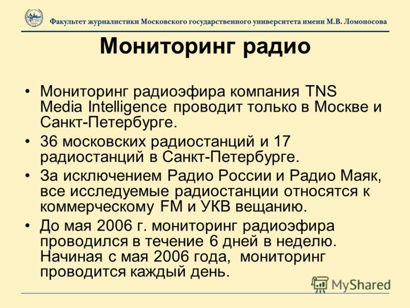 Мониторинг радио Мониторинг радиоэфира компания TNS Media Intelligence проводит только в Москве и Санкт-Петербурге. 36 московских радиостанций и 17 радиостанций в Санкт-Петербурге. За исключением Радио России и Радио Маяк, все исследуемые радиостанци
