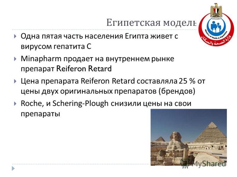 Египетская модель Одна пятая часть населения Египта живет с вирусом гепатита С Minapharm продает на внутреннем рынке препарат Reiferon Retard Цена препарата Reiferon Retard составляла 25 % от цены двух оригинальных препаратов ( брендов ) Roche, и Sch