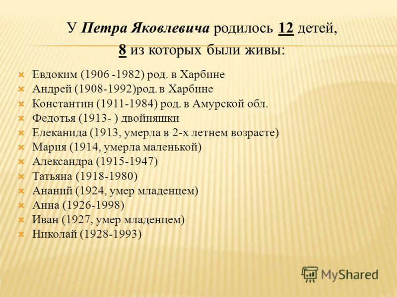 У Петра Яковлевича родилось 12 детей, 8 из которых были живы: Евдоким (1906 -1982) род. в Харбине Андрей (1908-1992)род. в Харбине Константин (1911-1984) род. в Амурской обл. Федотья (1913- ) двойняшки Елеканида (1913, умерла в 2-х летнем возрасте) М