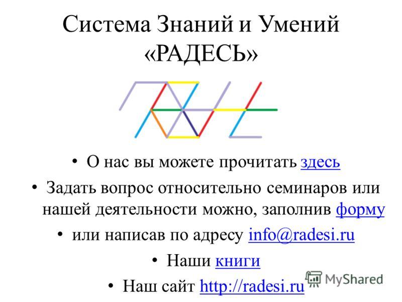 Система Знаний и Умений «РАДЕСЬ» О нас вы можете прочитать здесьздесь Задать вопрос относительно семинаров или нашей деятельности можно, заполнив формуформу или написав по адресу info@radesi.ruinfo@radesi.ru Наши книгикниги Наш сайт http://radesi.ruh