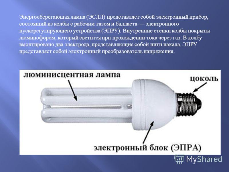 Энергосберегающая лампа ( ЭСЛЛ ) представляет собой электронный прибор, состоящий из колбы с рабочим газом и балласта электронного пускорегулирующего устройства ( ЭПРУ ). Внутренние стенки колбы покрыты люминофором, который светится при прохождении т