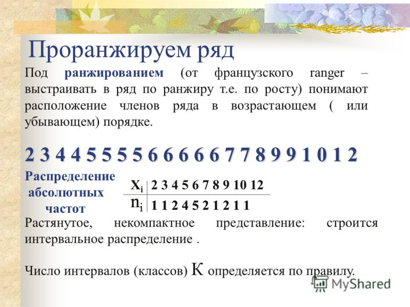 Пример: Из урожая картофеля, собранного на одном из опытных делянок, случайным способом, т.е. наугад, отобрано 20 клубней, в которых подсчитывали число глазков. Результаты подсчёта оказались следующими: 2 5 3 6 4 7 4 5 6 6 5 9 5 6 1 0 8 1 2 9 7 6