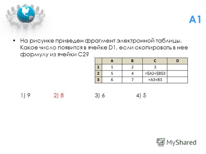 На рисунке приведен фрагмент электронной таблицы. Какое число появится в ячейке D1, если скопировать в нее формулу из ячейки C2? 1) 9 2) 8 3) 6 4) 5 A1
