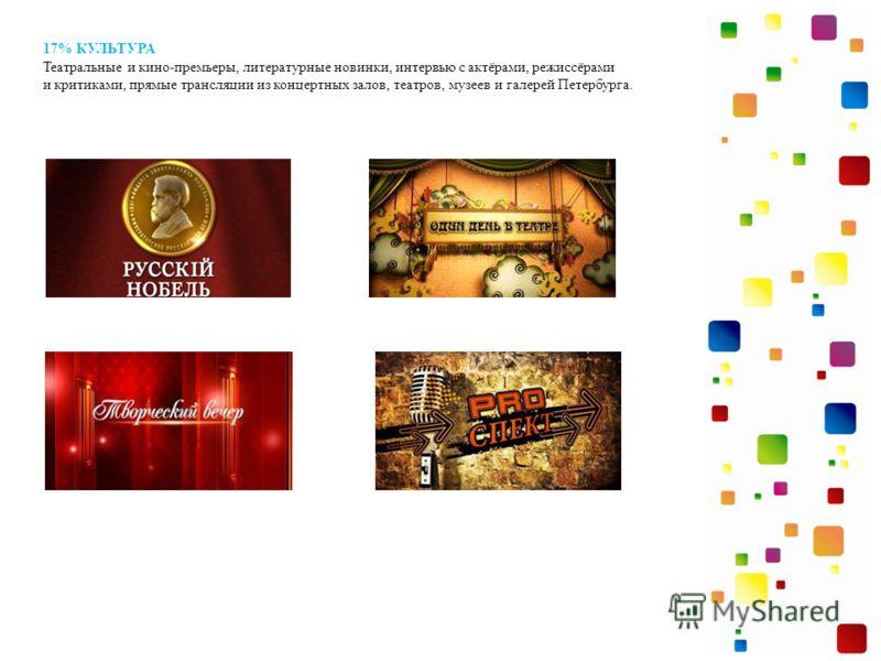 17% КУЛЬТУРА Театральные и кино-премьеры, литературные новинки, интервью с актёрами, режиссёрами и критиками, прямые трансляции из концертных залов, театров, музеев и галерей Петербурга.