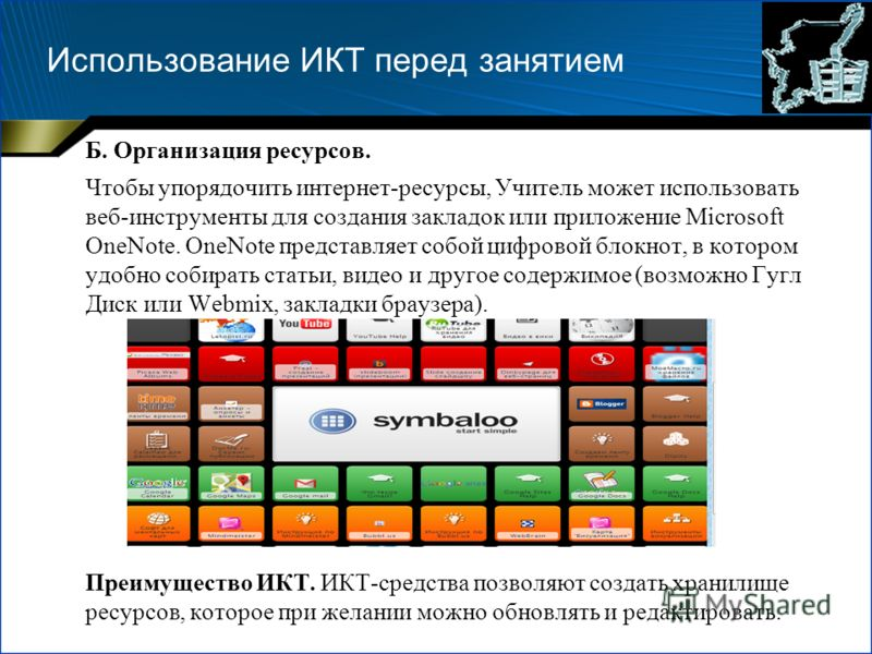 Использование ИКТ перед занятием Б. Организация ресурсов. Чтобы упорядочить интернет-ресурсы, Учитель может использовать веб-инструменты для создания закладок или приложение Microsoft OneNote. OneNote представляет собой цифровой блокнот, в котором уд