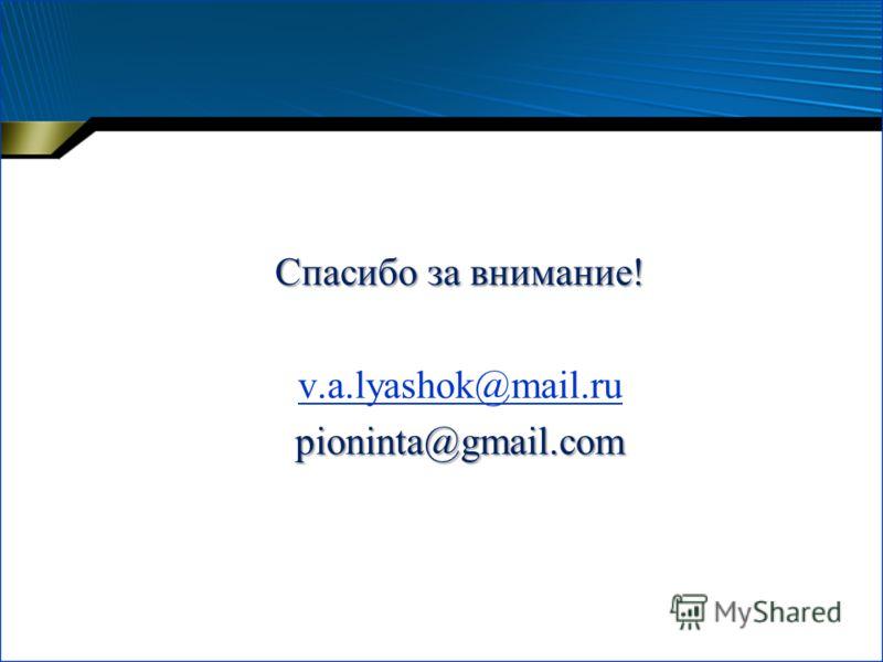 Спасибо за внимание! v.a.lyashok@mail.rupioninta@gmail.com