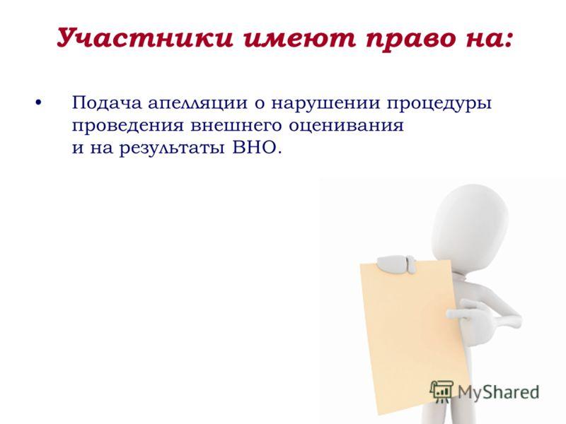 Подача апелляции о нарушении процедуры проведения внешнего оценивания и на результаты ВНО. Участники имеют право на: