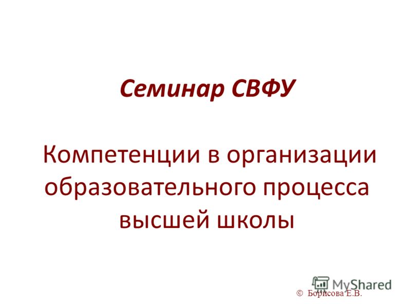 Борисова Е.В. Семинар СВФУ Компетенции в организации образовательного процесса высшей школы