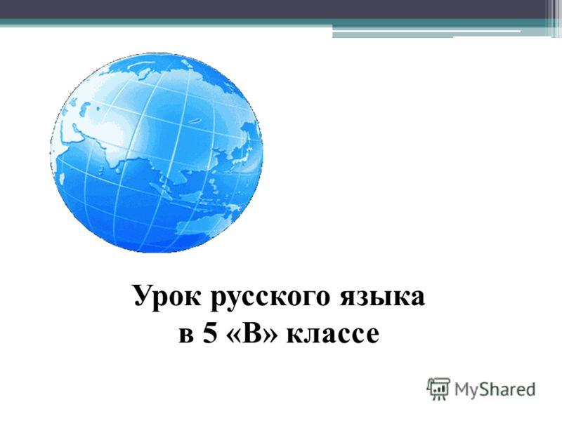 Урок русского языка в 5 «В» классе