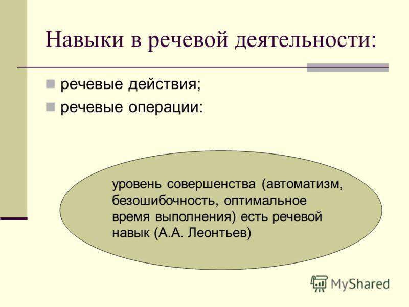Навыки в речевой деятельности: речевые действия; речевые операции: уровень совершенства (автоматизм, безошибочность, оптимальное время выполнения) есть речевой навык (А.А. Леонтьев)