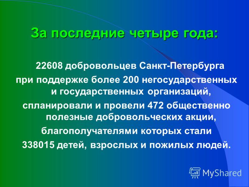 За последние четыре года: 22608 добровольцев Санкт-Петербурга при поддержке более 200 негосударственных и государственных организаций, спланировали и провели 472 общественно полезные добровольческих акции, благополучателями которых стали 338015 детей