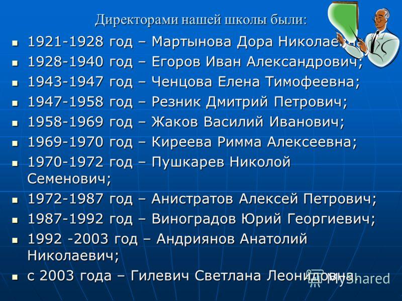 Директорами нашей школы были: 1921-1928 год – Мартынова Дора Николаевна; 1921-1928 год – Мартынова Дора Николаевна; 1928-1940 год – Егоров Иван Александрович; 1928-1940 год – Егоров Иван Александрович; 1943-1947 год – Ченцова Елена Тимофеевна; 1943-1