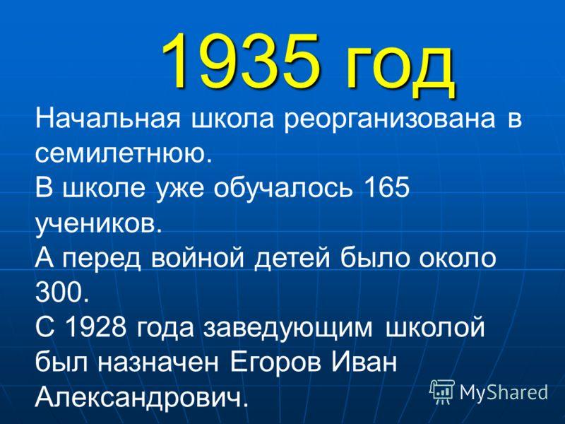 1935 год Начальная школа реорганизована в семилетнюю. В школе уже обучалось 165 учеников. А перед войной детей было около 300. С 1928 года заведующим школой был назначен Егоров Иван Александрович.