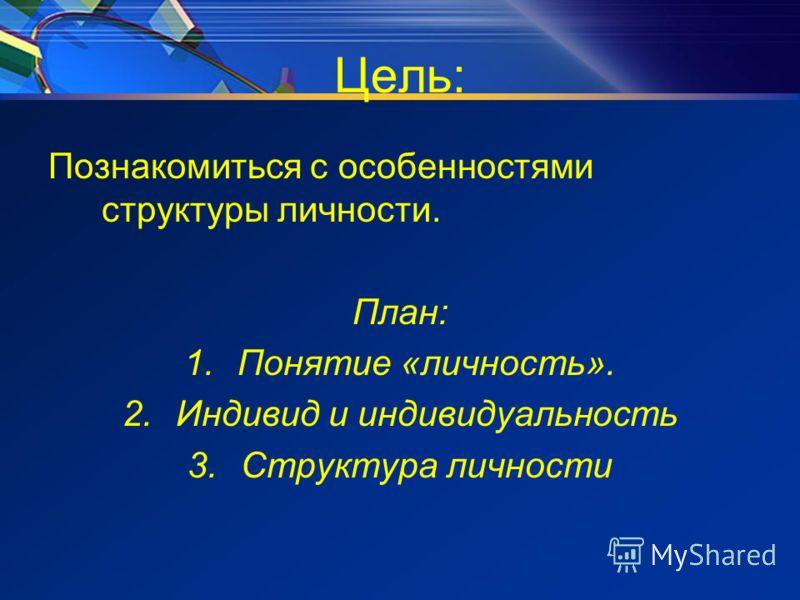 Цель: Познакомиться с особенностями структуры личности. План: 1.Понятие «личность». 2.Индивид и индивидуальность 3.Структура личности