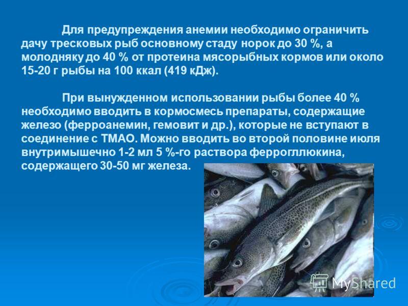 Для предупреждения анемии необходимо ограничить дачу тресковых рыб основному стаду норок до 30 %, а молодняку до 40 % от протеина мясорыбных кормов или около 15-20 г рыбы на 100 ккал (419 кДж). При вынужденном использовании рыбы более 40 % необходимо