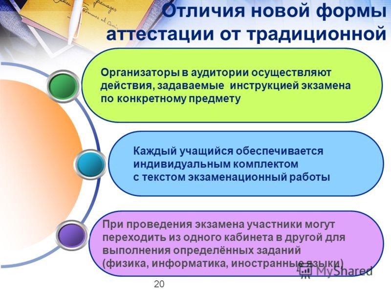 При проведения экзамена участники могут переходить из одного кабинета в другой для выполнения определённых заданий (физика, информатика, иностранные языки) Отличия новой формы аттестации от традиционной Организаторы в аудитории осуществляют действия,