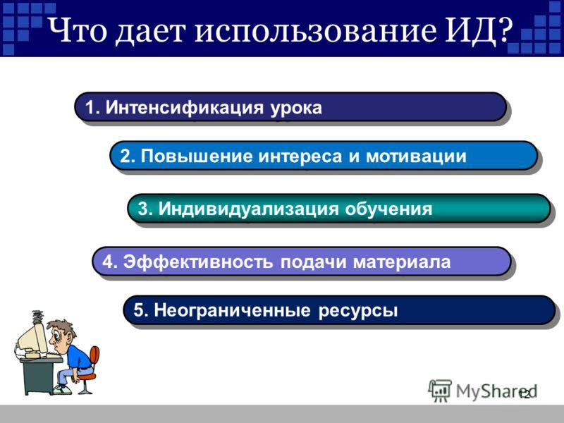 Что дает использование ИД? 1. Интенсификация урока 2. Повышение интереса и мотивации 3. Индивидуализация обучения 4. Эффективность подачи материала 5. Неограниченные ресурсы 12