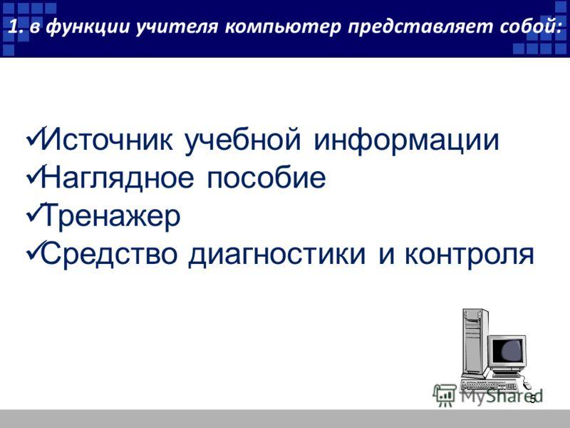 1. в функции учителя компьютер представляет собой: Источник учебной информации Наглядное пособие Тренажер Средство диагностики и контроля 5