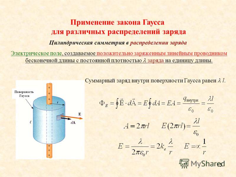 13 Суммарный заряд внутри поверхности Гаусса равен l. Поверхность Гаусса Применение закона Гаусса для различных распределений заряда Цилиндрическая симметрия в распределении заряда Электрическое поле, создаваемое положительно заряженным линейным пров