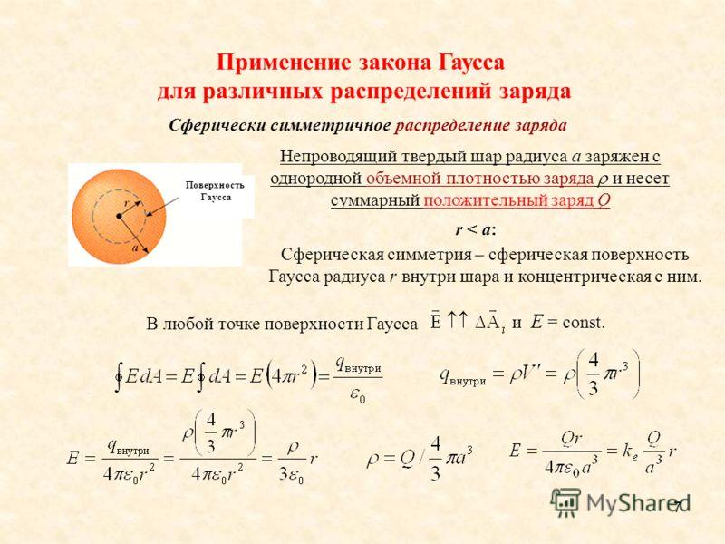 7 r < a: В любой точке поверхности Гаусса и E = const. Поверхность Гаусса Применение закона Гаусса для различных распределений заряда Непроводящий твердый шар радиуса a заряжен с однородной объемной плотностью заряда и несет суммарный положительный з