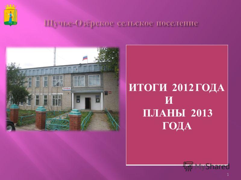 ИТОГИ 2012 ГОДА И ПЛАНЫ 2013 ГОДА 1