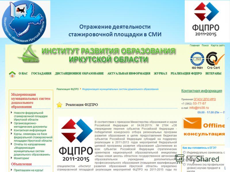 Отражение деятельности стажировочной площадки в СМИ Iro38.ru