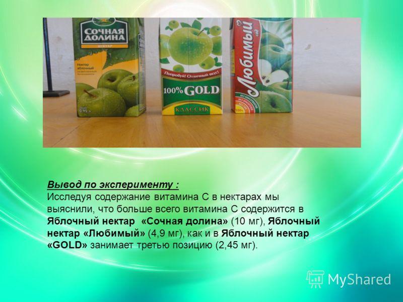 Вывод по эксперименту : Исследуя содержание витамина С в нектарах мы выяснили, что больше всего витамина С содержится в Яблочный нектар «Сочная долина» (10 мг), Яблочный нектар «Любимый» (4,9 мг), как и в Яблочный нектар «GOLD» занимает третью позици