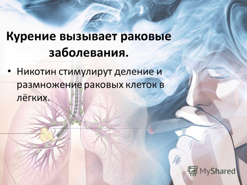 Курение вызывает раковые заболевания. Никотин стимулирут деление и размножение раковых клеток в лёгких.