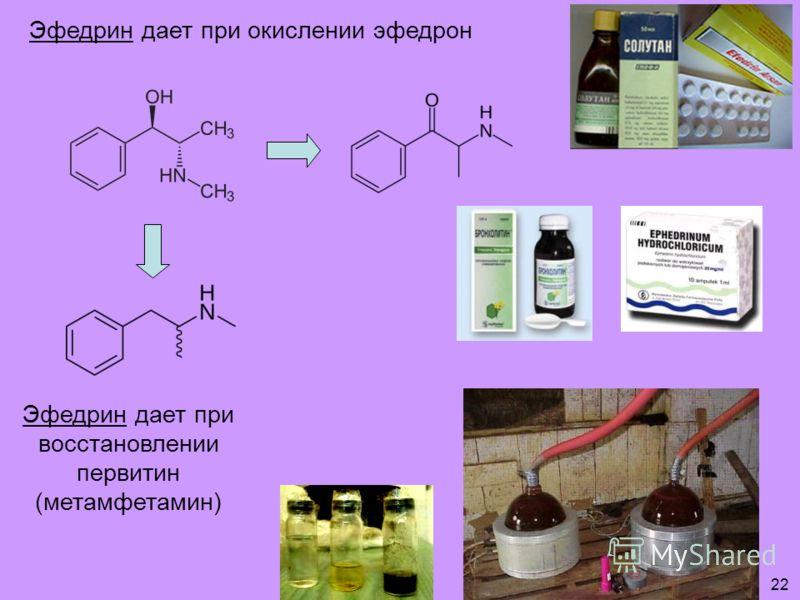 Эфедрин дает при окислении эфедрон Эфедрин дает при восстановлении первитин (метамфетамин) 22