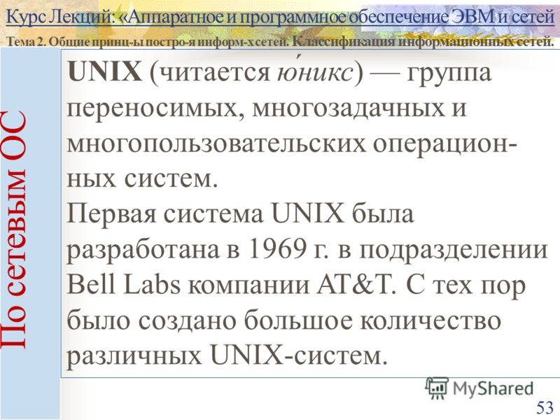 Курс Лекций: «Аппаратное и программное обеспечение ЭВМ и сетей Тема 2. Общие принц-ы постро-я информ-х сетей. Классификация информационных сетей. 53 По сетевым ОС UNIX (читается ю́никс) группа переносимых, многозадачных и многопользовательских операц
