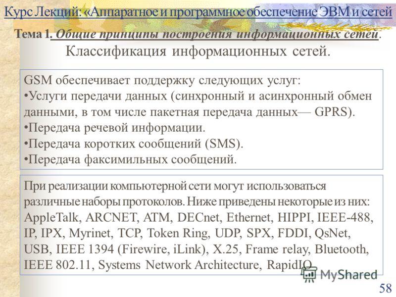 Курс Лекций: «Аппаратное и программное обеспечение ЭВМ и сетей Тема 1. Общие принципы построения информационных сетей. Классификация информационных сетей. 58 При реализации компьютерной сети могут использоваться различные наборы протоколов. Ниже прив