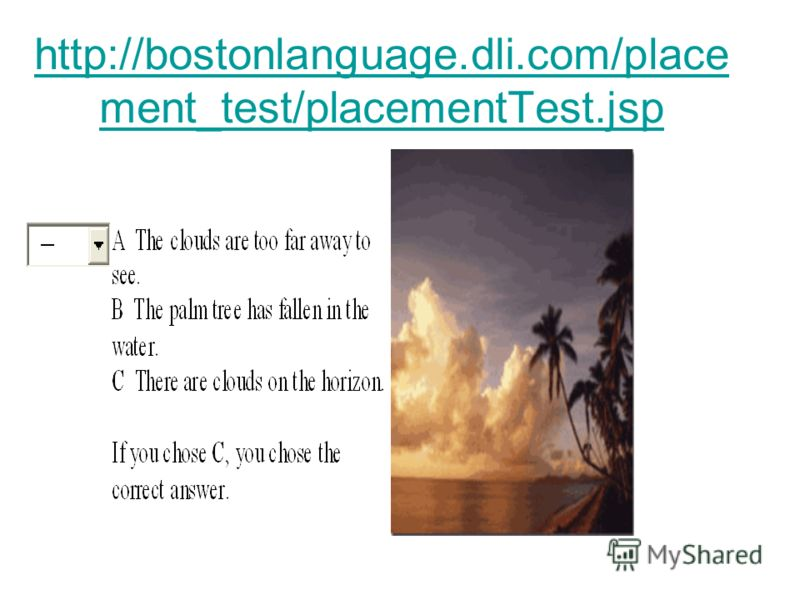 http://bostonlanguage.dli.com/place ment_test/placementTest.jsp