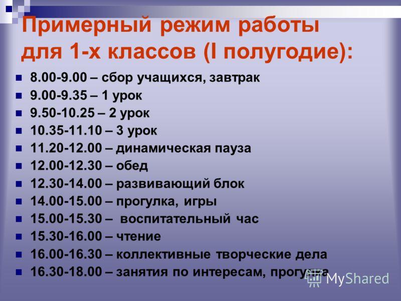 Примерный режим работы для 1-х классов (I полугодие): 8.00-9.00 – сбор учащихся, завтрак 9.00-9.35 – 1 урок 9.50-10.25 – 2 урок 10.35-11.10 – 3 урок 11.20-12.00 – динамическая пауза 12.00-12.30 – обед 12.30-14.00 – развивающий блок 14.00-15.00 – прог