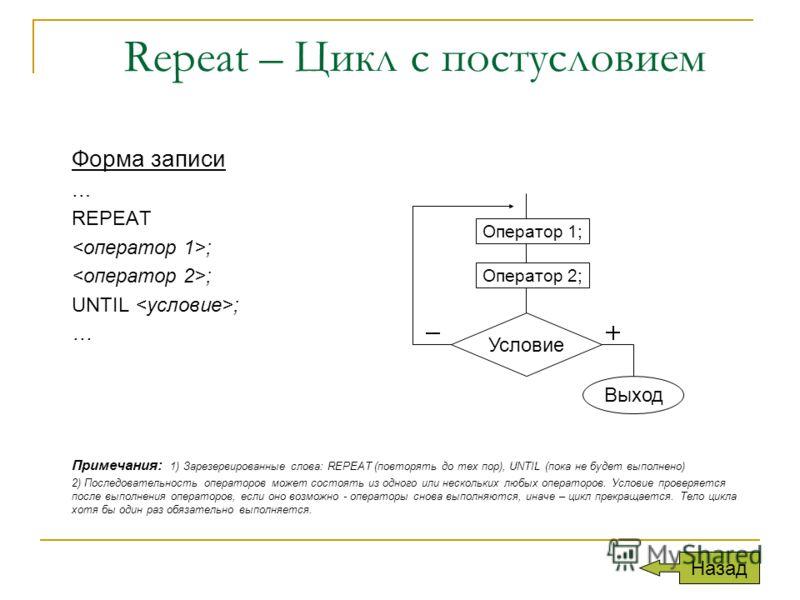 Repeat – Цикл с постусловием Форма записи … REPEAT ; UNTIL ; … Примечания: 1) Зарезервированные слова: REPEAT (повторять до тех пор), UNTIL (пока не будет выполнено) 2) Последовательность операторов может состоять из одного или нескольких любых опера