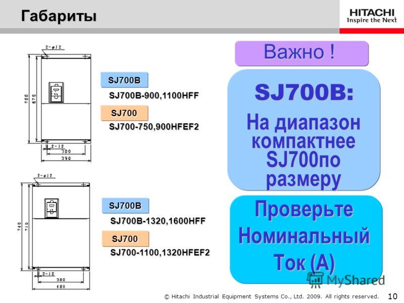 © Hitachi Industrial Equipment Systems Co., Ltd. 2009. All rights reserved. 9 SJ700B-150 H F F F: с панелью управления SJ700 Питающая сеть H: 3 фазы 400В Применяемая мощность двигателя 004:0.4кВт до 4000:400кВт F: со встроенным фильтром (EMC Filter)