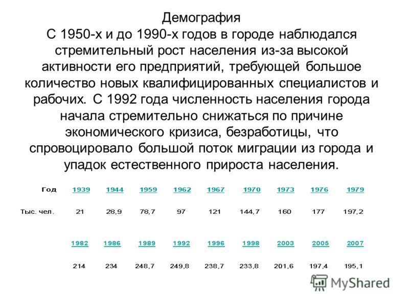 Демография С 1950-х и до 1990-х годов в городе наблюдался стремительный рост населения из-за высокой активности его предприятий, требующей большое количество новых квалифицированных специалистов и рабочих. С 1992 года численность населения города нач